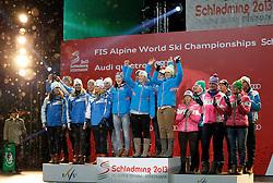 13.02.2013, Medal Plaza, Schladming, AUT, FIS Weltmeisterschaften Ski Alpin, Teambewerb, Siegerehrung, im Bild v. l. Team Schweden, 2. Platz, Team Oesterreich, 1. Platz, Team Deutschland, 3. Platz // from left 2nd place Team Sweden, 1st place Team Austria, 3rd place Team Germany at the Winner Award Ceremony for Nation Team Event at the FIS Ski World Championships 2013 at the Medal Plaza, Schladming, Austria on 2013/02/13. EXPA Pictures © 2013, PhotoCredit: EXPA/ Martin Huber