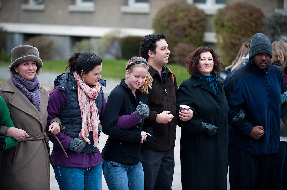 Hundreds of students, faculty, and staff joined arms in front of Crosby to show solidarity during the International Day of Tolerance on Nov. 16, 2011.<br />