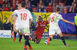 SEVILLE, SPAIN - Tuesday, November 21, 2017: Liverpool's Sadio Mane is fouled in the penalty area but no penalty was awarded during the UEFA Champions League Group E match between Sevilla FC and Liverpool FC at the Estadio Ramón Sánchez Pizjuán. (Pic by David Rawcliffe/Propaganda)
