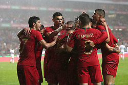 June 7, 2018 - Lisbon, Portugal - Portugal's midfielder Bruno Fernandes celebrates with teammates after scoring during the FIFA World Cup Russia 2018 preparation football match Portugal vs Algeria, at the Luz stadium in Lisbon, Portugal, on June 7, 2018. (Credit Image: © Pedro Fiuza via ZUMA Wire)
