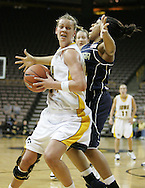 28 NOVEMBER 2007: Iowa forward Johanna Solverson (34) tries to get around Georgia Tech guard Iasia Hemingway (34) in the first half of Georgia Tech's 76-57 win over Iowa in the Big Ten/ACC Challenge at Carver-Hawkeye Arena in Iowa City, Iowa on November 28, 2007.