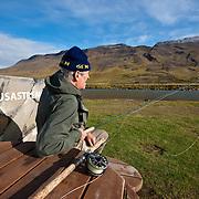 Tómas Guðmundsson at the pool Hnausastrengur on Vatnsdalsá river, Iceland.