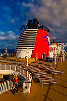 Art deco design of the new Disney Dream cruise ship, Disney Cruise Line, sailing between Florida and the Bahamas
