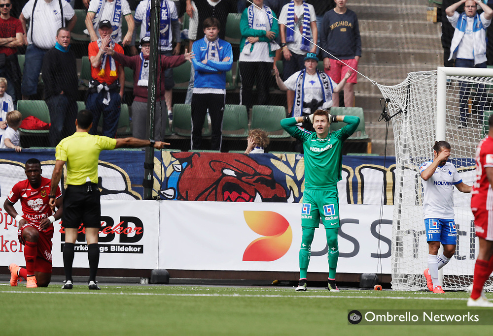 NORRKÖPING, SWEDEN - JULY 16: Andreas Vaikla, goalkeeper of IFK Norrköping reacts after causing a penalty during the allsvenskan match between IFK Norrköping and Östersunds FK at Östgötaporten on July 16, 2016 in Norrköping, Sweden. Foto: Nils Petter Nilsson/Ombrello