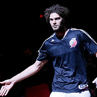 02 December 2013: Portland Trail Blazers center Robin Lopez (42) is seen during the players introduction prior to the Portland Trail Blazers 106-102 victory over the Indiana Pacers at the Moda Center, Portland, Oregon, USA.
