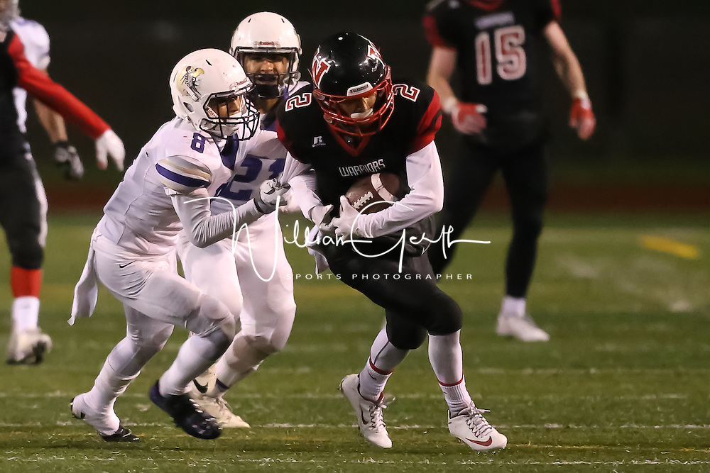 (Photograph by Bill Gerth for SVCN) Westmont #2 Ethan Go returns a fumble for big yardage vs Soledad in the CCS Division 4 Championship Football Game at Independence High School, San Jose CA on 11/26/16.  (Westmont 13  Soledad 17)