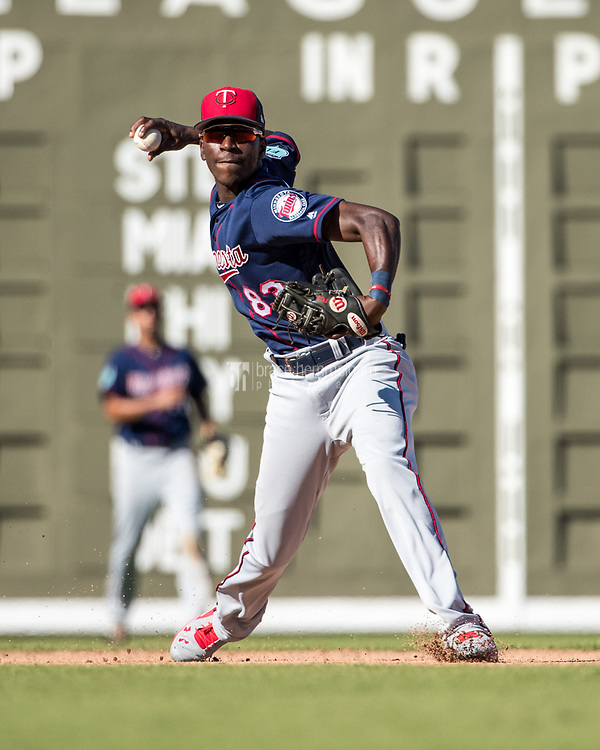 FORT MYERS, FL- FEBRUARY 25: Nick Gordon #83 of the Minnesota Twins throws against the Boston Red Sox on February 25, 2017 at JetBlue Park in Fort Myers, Florida. (Photo by Brace Hemmelgarn) *** Local Caption *** Nick Gordon