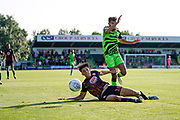 Dominic Bernard of Forest Green Rovers puts pressure on Arthur Iontton of Stevenage during the EFL Sky Bet League 2 match between Forest Green Rovers and Stevenage at the New Lawn, Forest Green, United Kingdom on 21 September 2019.