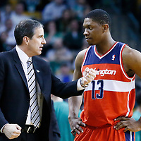 07 April 2013: Washington Wizards head coach Randy Wittman talks to Washington Wizards power forward Kevin Seraphin (13) during the Boston Celtics 107-96 victory over the Washington Wizards at the TD Garden, Boston, Massachusetts, USA.
