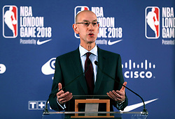 NBA Commissioner Adam Silver chairs a press conference before the NBA London Game 2018 at the O2 Arena, London.