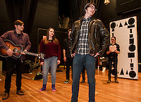 "Daniel Kehr rehearses a scene from ""A Fever Dream of Creativity"" a student run improve and sketch show with Dan Pinkham-Breslin, Christina Dutton, Cameron Doyle and Taylor Nute of the Players Comedy Club at Winnisquam Regional High School Wednesday afternoon.    (Karen Bobotas/for the Laconia Daily Sun)"