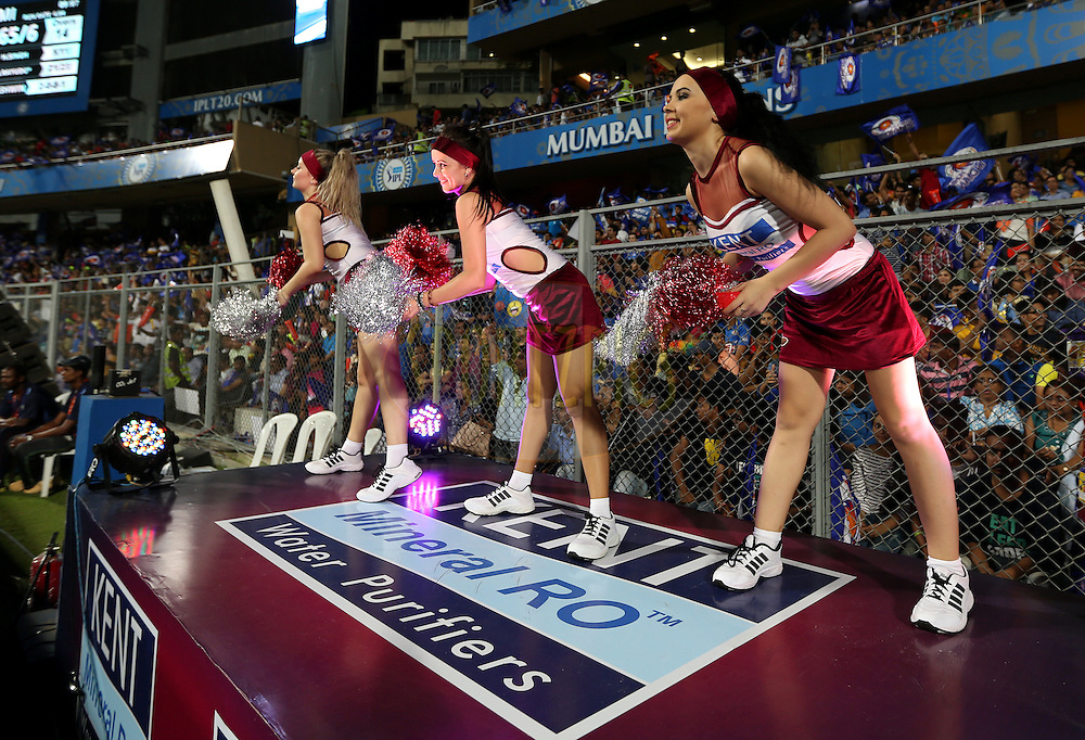 Cheer Girls performs during match 1 of the Vivo Indian Premier League ( IPL ) 2016 between the Mumbai Indians and the Rising Pune Supergiants held at the Wankhede Stadium in Mumbai on the 9th April 2016<br /> <br /> Photo by Sandeep Shetty/ IPL/ SPORTZPICS