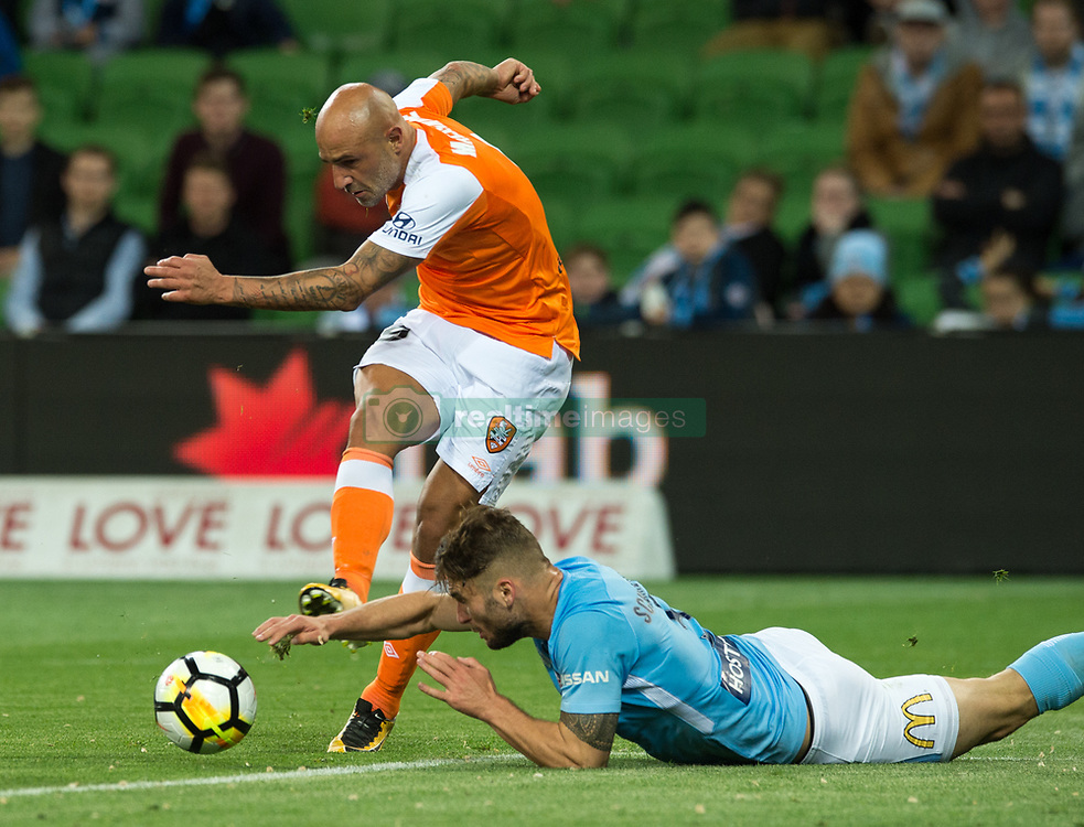 October 6, 2017 - Melbourne, Victoria, Australia - Melbourne, Victoria, Australia - Massimo Maccarone (#9) of Brisbane Roar tries to get a kick passed Bart Schenkeveld (#5) of Melbourne City during the round 1 match between Melbourne City and Brisbane Roar at AAMI Park in Melbourne, Australia during the 2017/2018 Australian A-League season. (Credit Image: © Theo Karanikos via ZUMA Wire)