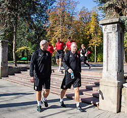 CHISINAU, MOLDOVA - Thursday, October 10, 2019: Wales' U21 assistant manager Frankie Bunn and manager Paul Bodin during a team walk in Chisinau ahead of the UEFA Under-21 Championship Italy 2019 Qualifying Group 9 match between Moldova and Wales. (Pic by Kunjan Malde/Propaganda)