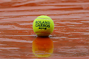Tennis ball under rain illustration during the Roland Garros French Tennis Open 2018, day 11, on June 6, 2018, at the Roland Garros Stadium in Paris, France - Photo Stephane Allaman / ProSportsImages / DPPI