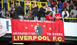 LONDON, ENGLAND - Sunday, September 18, 2011: Liverpool fans with a banner about Bill Shankly 'He took something perfect and painted it Red' during the Premiership match against Tottenham Hotspur at White Hart Lane. (Pic by David Rawcliffe/Propaganda)