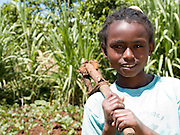 Tigist Banga, 10, working in the garden at her home in Boreda, Ethiopia. Tigist's favourite vegetable is Cabbage.