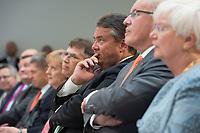 """17 JUL 2014, BERLIN/GERMANY:<br /> Angela Merkel, CDU, Bundeskanzlerin, Prof. Dr. Juergen Osterhammel, Professor fuer Neuere und Neuste Geschichte an der Universität Konstanz, Sigmar Gabriel, SPD, Bundeswirtschaftsminister, Volker Kauder, CDU Fraktionsvorsitzender, und Gerda Hasselfeldt, CSU, Vorsitzende der CSU Landesgruppe, (v.L.n.R.), waehrend dem """"Berliner Gespraech spezial"""" der CDU, anlaesslich des 60. Geburtstags von Angela Merkel, Konrad-Adenauer-Haus<br /> IMAGE: 20140717-01-012<br /> KEYWORDS: Jürgen Osterhammel"""