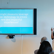 APRIL 25, 2018--MIAMI, FLORIDA<br /> Traci Thomas, of MAYA, talks about the the Process overview prior to the  group presentations as part of Arts and Technology exploration of new ways to connect people to art, at the Perez Art Museum Miami.<br /> (PHOTO BY ANGELVALENTIN/FREELANCE)