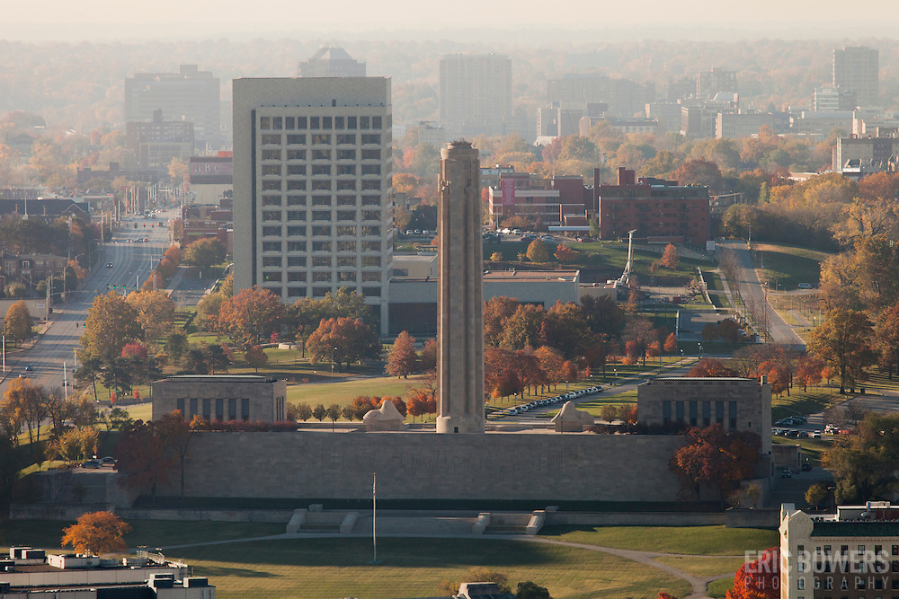 View of Kansas City's Liberty Memorial World War One monument and museum from Power and Light Building in downtown Kansas City, MO. Midtown Kansas City in background.
