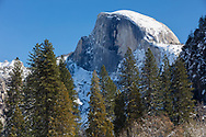 Half Dome towers above Yosemite Valley in winter.