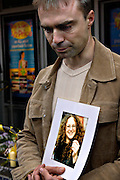 David (Pictured) and Robert Webb are asking attention for their missing sister Laura Webb (29) on Saturday July 9, 2005 at the Kings Cross station in London , England. Laura is missing since the bombings two days earlier on Thursday Juli 7.