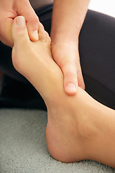 Woman Receiving Reflexology Treatment, Close-up View
