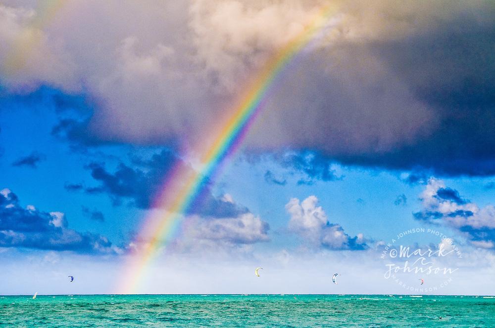Kailua, Oahu, Hawaii, USA --- Rainbow above Kite Surfers