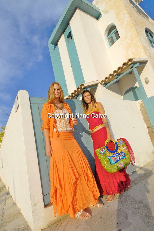 Model Released: Portrait of Gema and Eva in ibizan clothes from AdLibitum shop, Ibiza