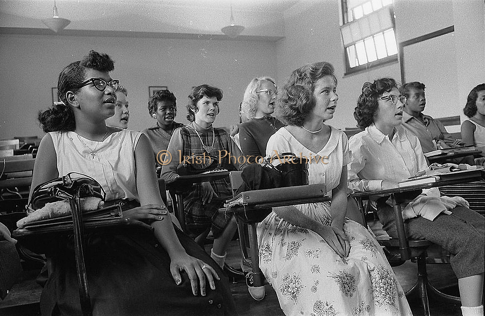 Integrated classroom at Anacostia High School, Washington, D.C., USA. 10 September 1957. Photographer:  Warren K  Leffler.