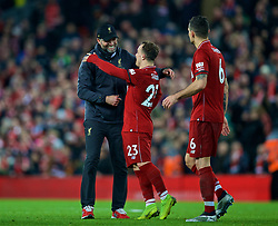 LIVERPOOL, ENGLAND - Saturday, December 29, 2018: Liverpool's manager Jürgen Klopp celebrates with Xherdan Shaqiri after the 5-1 victory during the FA Premier League match between Liverpool FC and Arsenal FC at Anfield. (Pic by David Rawcliffe/Propaganda)