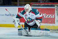 KELOWNA, CANADA - FEBRUARY 24: Brodan Salmond #31 of the Kelowna Rockets warms up against the Kamloops Blazers on February 24, 2018 at Prospera Place in Kelowna, British Columbia, Canada.  (Photo by Marissa Baecker/Shoot the Breeze)  *** Local Caption ***