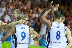 Players of Finland celebrate winning in second overtime and advancing in next round during basketball match between national team of Finland and Russia of Eurobasket 2013 on September 8, 2013 in Arena Bonifika, Koper, Slovenia. (Photo By Matic Klansek Velej / Sportida.com)