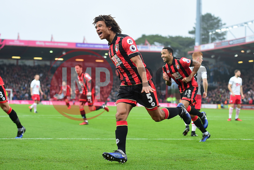 Nathan Ake of Bournemouth celebrates. - Mandatory by-line: Alex James/JMP - 18/12/2016 - FOOTBALL - Vitality Stadium - Bournemouth, England - Bournemouth v Southampton - Premier League