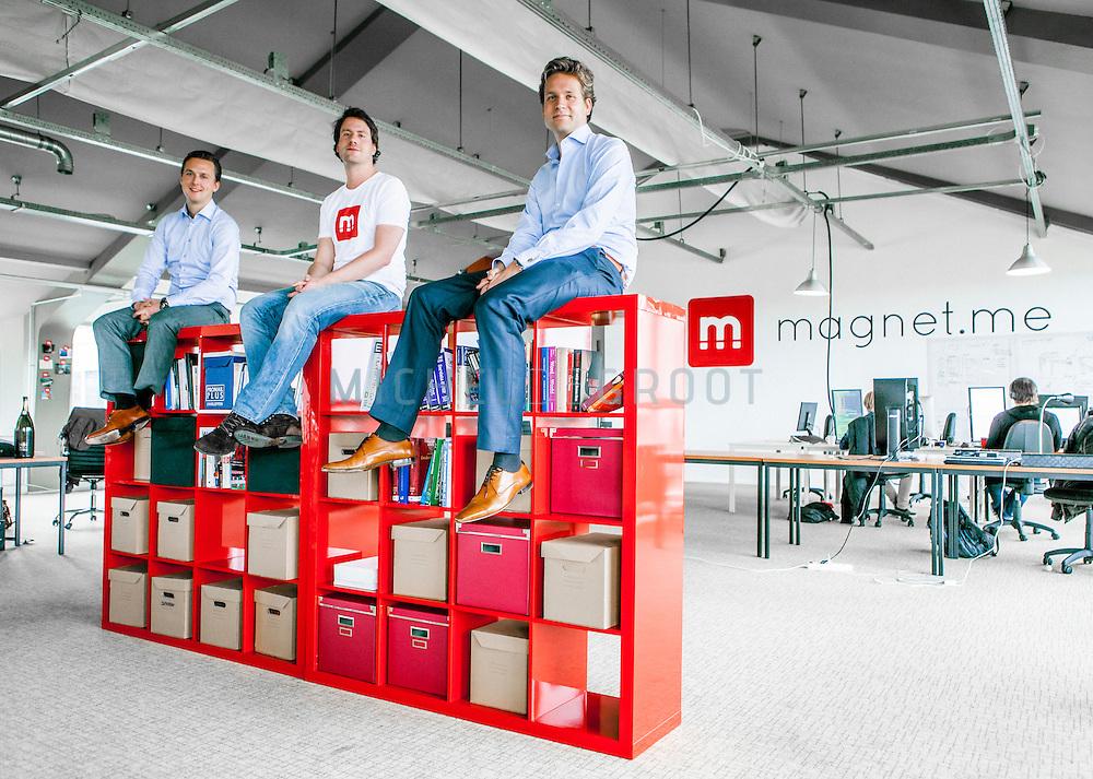 Freek Schouten, Laurens van Nues en Vincent Karremans, bedenkers en oprichters van Magnet.me