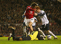 Photo: Aidan Ellis.<br /> Manchester United v West Ham United. The Barclays Premiership. 29/03/2006.<br /> West Ham'sShaka Hislop saves at the feet of Manchester's ruud Van Nistelrooy