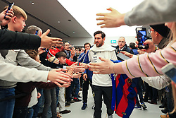 Lionel Messi of Argentina greets fans on arrival at the Etihad Stadium - Mandatory by-line: Matt McNulty/JMP - 23/03/2018 - FOOTBALL - Etihad Stadium - Manchester, England - Argentina v Italy - International Friendly