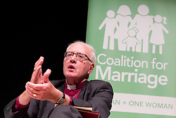 © Licensed to London News Pictures. 08/10/2012. Birmingham , UK . The former Archbishop of Canterbury , George Carey , speaks against gay marriage . Birmingham Town Hall meeting of The Coalition for Marriage , who are opposed to giving marriage rights to gay people . Photo credit : Joel Goodman/LNP