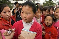 Zhang Ya'nan,12 at school in Balizhuang the village where she lives with her grandparents in Henan, China. March 20th 2008 ©Lionel DERIMAIS