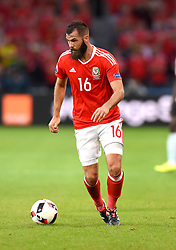 Joe Ledley of Wales  - Mandatory by-line: Joe Meredith/JMP - 01/07/2016 - FOOTBALL - Stade Pierre Mauroy - Lille, France - Wales v Belgium - UEFA European Championship quarter final