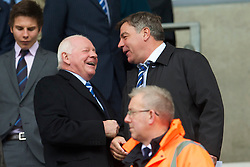WIGAN, ENGLAND - Monday, May 3, 2010: Wigan Athletic's chairman Dave Whelan and Blackburn Rovers manager Sam Allardyce during the Premiership match at DW Stadium. (Photo by David Rawcliffe/Propaganda)