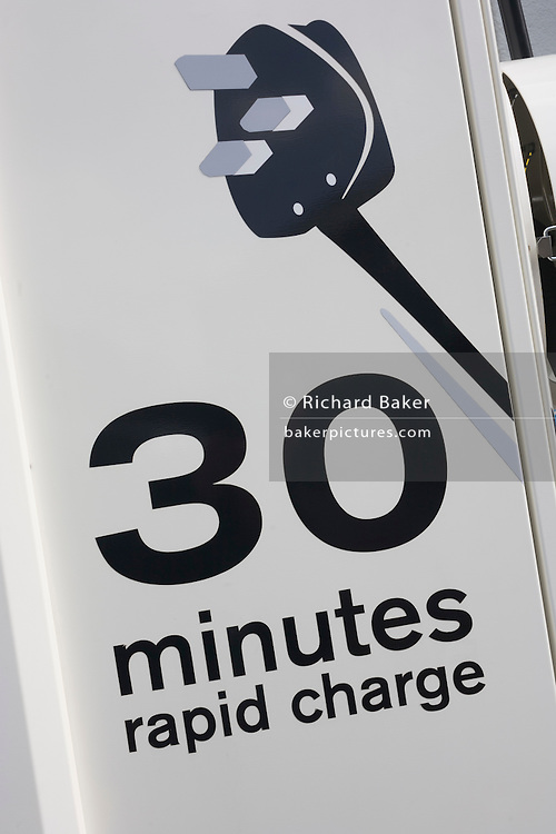 """SGTE fast charger technology for electric vehicles at a charging point offering an EV 30 minute charge. CHAdeMO (sometimes spelled CHdeMO) is the trade name of a quick charging method for battery electric vehicles delivering up to 62.5 kW of high-voltage direct current via a special electrical connector. CHAdeMO is an abbreviation of """"CHArge de MOve"""", equivalent to """"charge for moving"""". The name is a pun for O cha demo ikaga desuka in Japanese,[translating to English as """"How about some tea?"""", referring to the time it would take to charge a car. CHdeMO can charge a car in less than half an hour."""