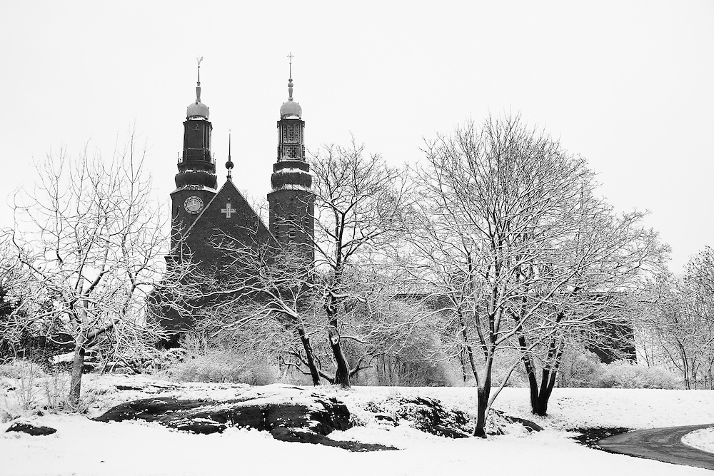 Snow covered Högalid Church and its surrounds, Stockholm during winter.