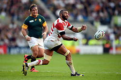 Michael Leitch of Japan passes the ball - Mandatory byline: Patrick Khachfe/JMP - 07966 386802 - 19/09/2015 - RUGBY UNION - Brighton Community Stadium - Brighton, England - South Africa v Japan - Rugby World Cup 2015 Pool B.