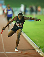 JOHANNESBURG, SOUTH AFRICA - MARCH 22: Thokelo Rantie dives for the line as he finishes the mens 4x400m relay during the ASA Speed Series 4 at Germiston Stadium on March 22, 2017 in Johannesburg, South Africa. (Photo by Roger Sedres/ImageSA)