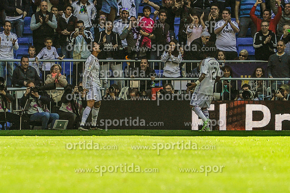 05.04.2015, Estadio Santiago Bernabeu, Madrid, ESP, Primera Division, Real Madrid vs FC Granada, 29. Runde, im Bild Real Madrid&acute;s Cristiano Ronaldo celebrates a goal // during the Spanish Primera Division 29th round match between Real Madrid CF and Granada FC at the Estadio Santiago Bernabeu in Madrid, Spain on 2015/04/05. EXPA Pictures &copy; 2015, PhotoCredit: EXPA/ Alterphotos/ Luis Fernandez<br /> <br /> *****ATTENTION - OUT of ESP, SUI*****