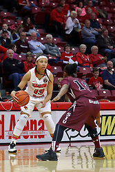 29 January 2017: Katrina Beck defended by Rishonda Napier during an College Missouri Valley Conference Women's Basketball game between Illinois State University Redbirds the Salukis of Southern Illinois at Redbird Arena in Normal Illinois.