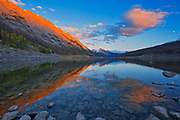 Last light on the Colin Range reflected in Medicine Lake<br />