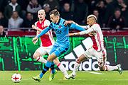 AMSTERDAM - 05-04-2017, Ajax - AZ, Stadion Arena, Ajax speler Davy Klaassen, AZ speler Mats Seuntjens, Ajax speler Hakim Ziyech