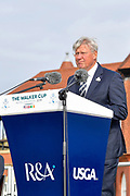 Martin Slumbers, Chief Executive of the R&A gives the welcome address during the Walker Cup Opening Ceremony, Friday at the Royal Liverpool Golf Club, Friday, Sept 6, 2019, in Hoylake, United Kingdom. (Steve Flynn/Image of Sport)